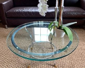"""$350 Glass, brass, metal round coffee table: 16"""" high, 35"""" diameter; glass is 3/4"""" thick"""
