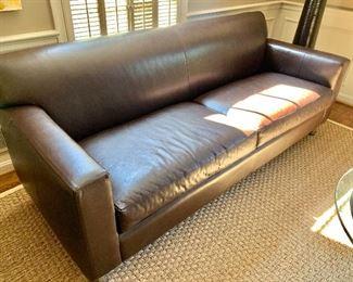 "$900 Lofgren's Classic Contemporary Leather Sofa in mocha ; 32"" H x 82"" W x 33"" D"