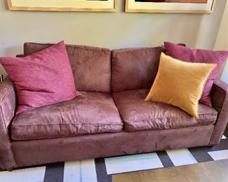 "Pillows : Crate & Barrel Tempo 20"" pillow in antique gold ($30) and two 25"" Lamont pillows in plum ($60)"
