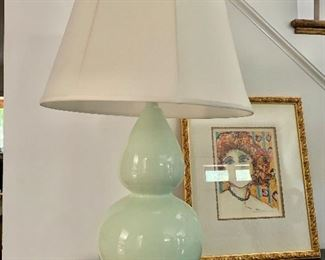 """$195 Lamp; 31"""" tall to top of finial ; small water stain on shade ; ART NOT FOR SALE"""