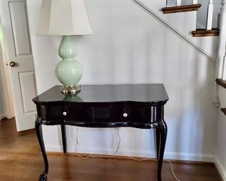 "$395 Vintage dresser/desk refinished in black lacquer ; 29.5"" H x 40"" W x 23"" D"