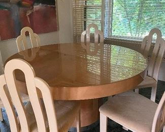 Goat Skin Dining Table and Chairs (extends)
