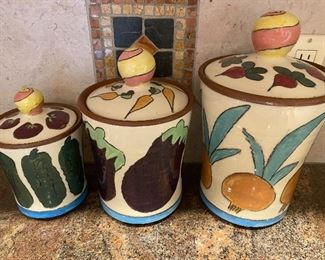 Signed Pottery kitchen canisters
