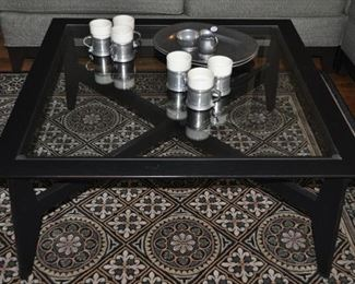 """ETHAN ALLEN AMERICAN IMPRESSIONS BLACK FINISH AND GLASS COFFEE TABLE. 38""""SQ X 17""""H. OUR PRICE $495.00"""