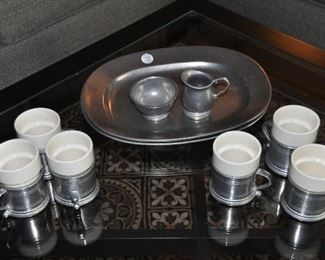 """VINTAGE WILTON (RWP) PEWTER 10 PIECE COFFEE AND DESSERT SET (15"""" PLATTERS), OUR PRICE"""
