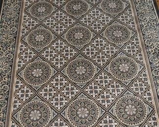 """KARASTAN ROYAL COURT """"EMPIRE TILE""""  WOOL AREA RUG, BLACK, TAUPE AND CREAM. 5'2"""" X 7'10"""". TWO AVAILABLE!  OUR PRICE IS $225.00"""