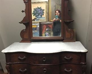 Stunning Victorian, Marble Top,  Flame Mahogany Dresser With Arched Mirror