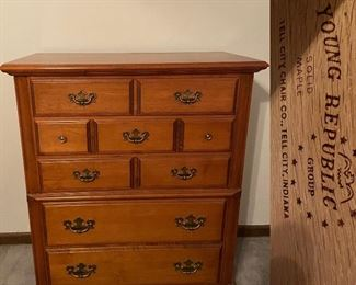 Young Republic Tell City Chair Co. Indiana Solid Maple Chest Of Drawers