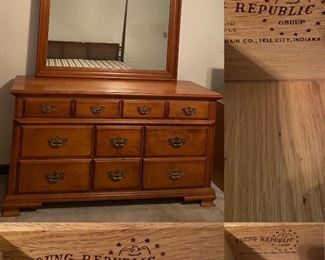 Young Republic Tell City Chair Co. Indiana Solid Maple Dresser/Mirror