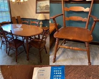Tell City Chair Co Solid Maple Oval Dining Table & 6 Chair's