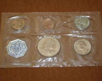 $20 each set.  Five individual sets of 1962 Mint silver proof coins in original sealed packaging with COA.