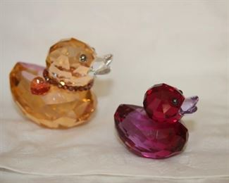 $100 pair. Swarovski crystal Happy Ducks. Sweet Alicia red duck and Chloe with boxes.