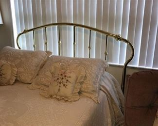 Queen brass headboard and mattress set