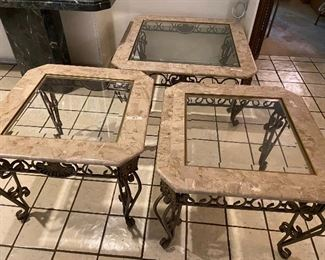 Three faux marble set coffee and two end tables, coffee table is 36 x 17 $150.00, end tables are 26 x 21 $75.00 each