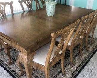 """Dining table 42""""x 68"""" w/2-18"""" leaves in Blond finish w/taupe crackle claw & ball legs w/ 6 matching side chairs.  Rug in black&neutrals."""