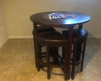 """Bar height 40"""" round table w/ brown marble recessed inset center &  4 tucked bar stools"""