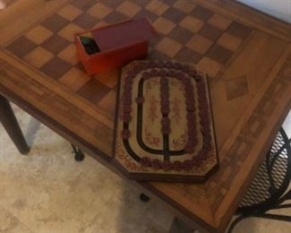 """18th Century marquetry game table top 24.5 x 36"""", on turned leg """"later"""" base."""