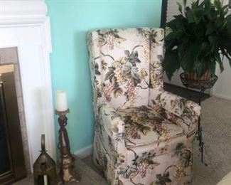 """2 accent host or small wing side chairs.  27"""" x 25"""" x 45"""" inch high.  These are shown in the linen grape pattern cover.  And are Chippendale style w/ wood legs and covered in a multi teal & red floral cotton chintz fabric under the slip cover shown."""