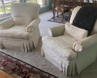 """pr Vanguard rolled arm. skirted lounge chairs 36"""" x 42"""" deep. In tone on tone off-white stylized leaf pattern"""