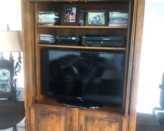 """Lovely Country French Armoire 48""""x 25""""d x 86"""" high w/ carved shell motif.  Don't worry to use with a TV, you can also take out the top shelves, put a rod in and make this a closet."""