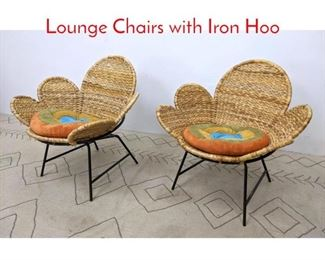 Lot 1 Pair Decorator Woven Rattan Lounge Chairs with Iron Hoo