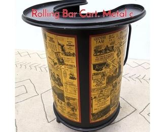 Lot 2 Decorator Fornasetti Inspired Rolling Bar Cart. Metal c