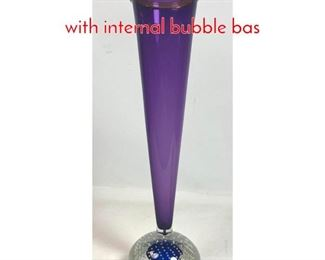 Lot 7 Tall Art Glass Vase. Cone form with internal bubble bas