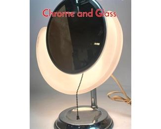 Lot 8 Art Deco Style Light Up Mirror. Chrome and Glass.