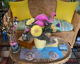 Wicker Table & Loveseat