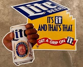 """Vintage Lite Beer Tin Sign """"It's It And That's That"""" """"Get A Grip On It"""" Approximately 19""""x17"""""""