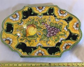24.  Italian Blue and Yellow Tuscan Platter with Floral/Fruit Motif $60.00