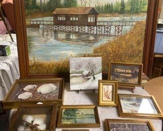 Assortment of framed artwork
