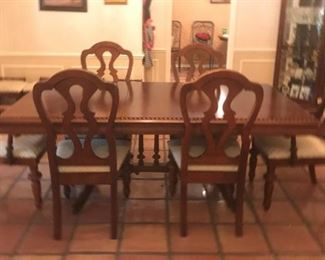 Quality Large Dining Room Table with Two Arm Chairs Four Side chairs and Four matching Individual Bench Seats