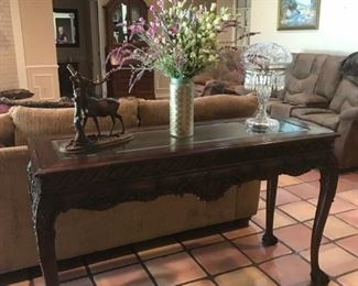Fine Quality TALL Carved Glass Insert Sofa Table