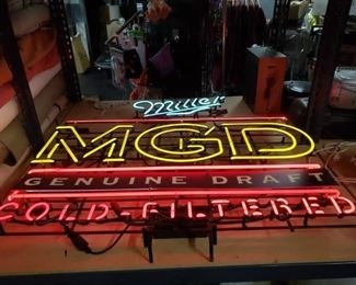 4' x 4' Miller Genuine Draft  MGD Cold-Filtered Double Transformer Neon Light $395
