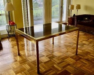 Milo Baughman Gold-Lacquered and Smoked Glass Extending Dining Table. *Shown closed.