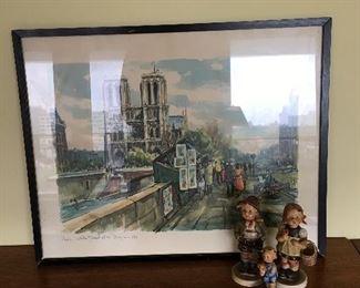 """Hummels & Raphael art. Paris- """"Notre Dame et la Bouguinistes"""" Watercolor"""