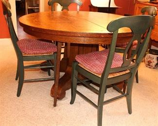 Antique Empire Style Quarter Sawn Round Oak Table