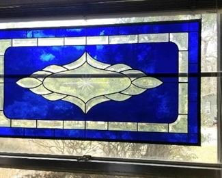 Large one of a kind lead glass panel in vibrant blue, several different panels available