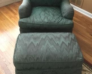 Forest Green armchair and ottoman