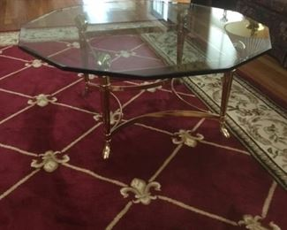 Brass & Glass coffee table.. and rug