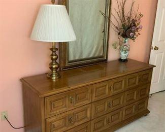 Large Dresser, Mirror, Stiffel Lamp, and Floral Vase