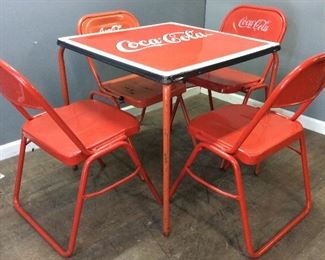 VINTAGE COCA COLA TABLE/4 CHAIRS