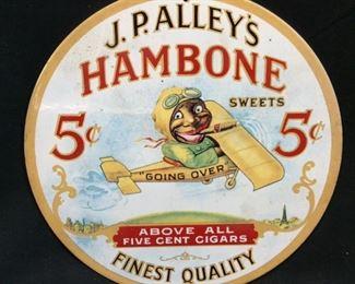 RARE VTG J.P. ALLEY'S HAMBONE 5c SIGN