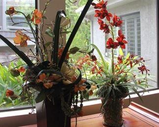 """#3.  $45.00.  Pair faux flowers 33"""" tallest piece"""