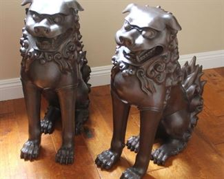 """#1.  $300.00.   Pair cast metal QiLin mythological dragons with a bronze patina.   29""""h X 11""""w X 22""""d.  Please note these are large."""