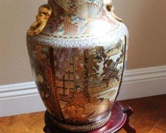 """#4.  $45.00. Satsuma style vase 18"""" h"""