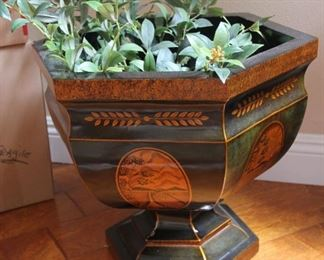 """#6.  $60.00. Maitland Smith planter 17.5"""" h X 18"""" diameter.  As is.. see addl pics"""
