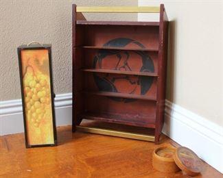 """#7.  $40.00. Lot items shelf/coasters/ box shelf is 18.5"""" height"""