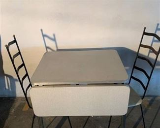 Retro Drop Leaf Formica Table With 2 Wrought Iron Ladder Back Chairs Location 1E
